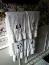 guest bathroom towels:  of my own guest bathroom with monogrammed towels i have a bath towel and a hand towel i also have a towel laying on the side of the sink for use