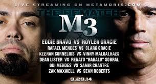 Skrivet av: Daniel Rosendahl 0. Eddie Bravo vs Royler Gracie, slutade oavgjort. Rafael Mendes vs Clark Gracie, slutade oavgjort. Keenan Cornelius vs Kevin ... - m3home3