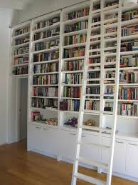furniture tall white wooden bookshelf with tall white wooden ladder on brown wooden floor buy home library furniture