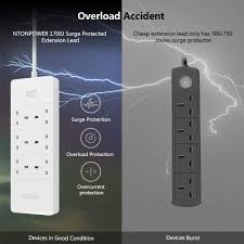 6 Gang <b>Extension Lead</b>, 1700 Joules Surge Protection, Larger USB ...