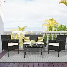 Costway <b>4PCS</b> Patio Rattan Furniture Set Cushioned Sofa <b>Coffee</b> ...