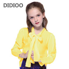<b>School Girls</b> Blouses for Kids Solid Shirts for Child Tops Bow ...