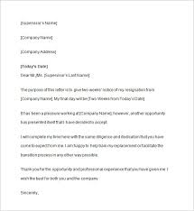 two weeks notice letter sample example format   two weeks notice letter template