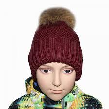 Детская <b>шапка для девочки</b> с помпоном из меха