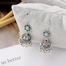 Women <b>Bohemian Boho Style Small</b> Bell Shape Turquoise Flower ...