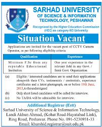 cctv camera operator job peshawar sarhad university of science cctv camera operator job peshawar sarhad university of science information technology job