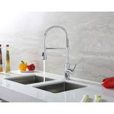 euro week full kitchen: luxier single handle deck mounted standard kitchen sink faucet with pull down spray