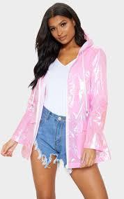 Cobie <b>Pink Holographic</b> Rain <b>Mac</b> | Coats | PrettyLittleThing