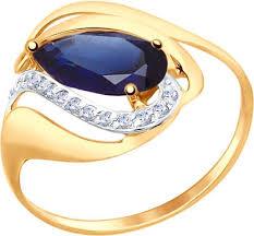 Женское золотое <b>кольцо SOKOLOV</b> 714689_s с корундом ...