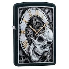 <b>Зажигалка ZIPPO</b> 29854 <b>Skull Clock</b> Design с покрытием Black ...