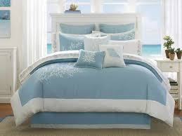 blue and white bedding set complete with pillows beach themed on white wooden queen size bed bedroom white bed set