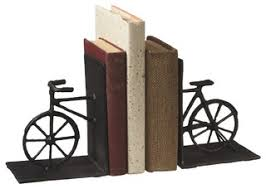 """Cast <b>Iron Vintage Bicycle Shaped</b> 10.5"""" Bookends - Contemporary ..."""