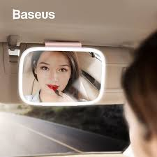 Baseus <b>Universal LED Car</b> Interior Mirror Auto Cosmetic Makeup ...