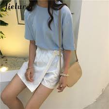 Jielur Tee Shirt 15 Solid Color Basic T Shirt <b>Women</b> Casual <b>O neck</b> ...