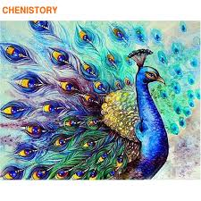 CHENISTORY <b>Frameless Peacock</b> Animals <b>DIY</b> Painting By ...