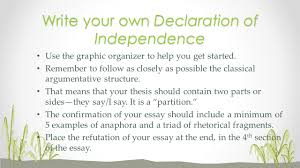 i can imitate a writer s style and structure in creating an write your own declaration of independence use the graphic organizer to help you get started