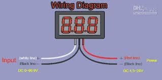 wiring diagram voltmeter car wiring image wiring 3 wire dc0 100v dc0 99 9v red led digital display voltage panel on wiring diagram