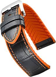 Alpine <b>Genuine Leather</b> Watch Strap with <b>Silicone</b> Waterproof Lining ...