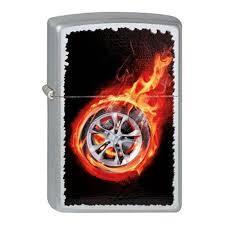 <b>Зажигалка ZIPPO Tire</b> On Fire, с покрытием Satin Chrome ...