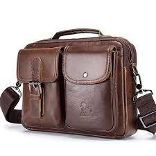 <b>100</b>% <b>Genuine Leather</b> Vintage Messenger <b>Bag</b> Satchel <b>Bag</b> ...