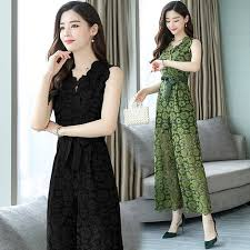 Korean Fashion <b>Elegant Women V Neck</b> Lace Slim <b>Jumpsuit</b> Office ...