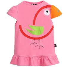 UBANG <b>Girls</b> Pink Organic Cotton Jersey <b>Bird</b> T-Shirt at ...