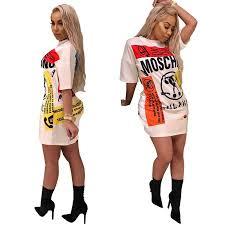 <b>2019 Women Scrawl Printed</b> Dress Summer Short Sleeve Long T ...