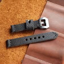 <b>Onthelevel Genuine Leather</b> 18mm <b>Watch Strap</b> Hand stitched Wax ...