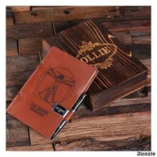 Engraved <b>Gift Box Set</b> with Pen and Leather Journal | Zazzle.com ...