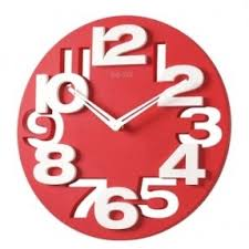 foxnovo novelty hollow out 3d big digits kitchen home office decor round shaped wall clock burnt red home office