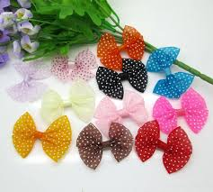<b>30pcs</b> Mixed Baby Satin <b>Ribbon</b> Organza Dot Bowknot Hair Clips ...