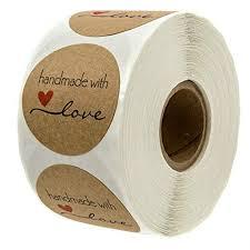 <b>500pcs</b> Inch Round Natural Kraft Handmade with Love Stickers ...