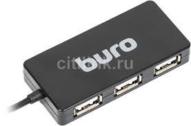 Купить Хаб (разветвитель) <b>BURO BU-HUB4-U2.0-Slim</b>, <b>черный</b> в ...