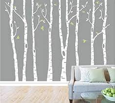 8 Birch <b>Tree</b> Wall Decals with Flying <b>Birds</b> Removable <b>Vinyl</b> Wall ...