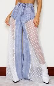 Mid Blue Wash Star <b>Sequin Mesh</b> Cut Out Wide Leg Jeans