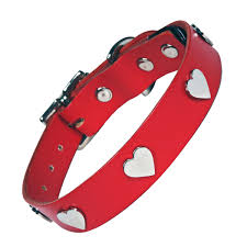 Red <b>Dog Collar</b> with Silver <b>Hearts</b> - Creature Clothes