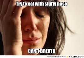Try to eat with stuffy nose... - First World Problems Lady Meme ... via Relatably.com