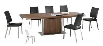 wood extendable dining table walnut modern tables:  modern large wooden extending dining table and  chairs stainless steel base walnut veneer setjpg