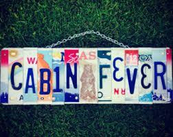 cabin decor lodge sled: cabin fever license plate art cabin decor cabin custom wood sign for him christmas present alaska bear
