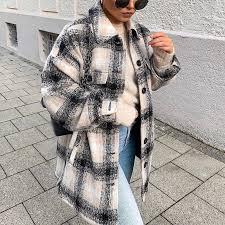 <b>Women's fashion long sleeved</b> long tartan jacket – lynmia