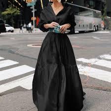 Shirt Dress <b>2021 VONDA Women</b> Lantern Sleeve Solid Color Party ...