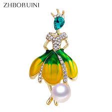 <b>ZHBORUINI</b> 2019 <b>New Pearl</b> Brooch Dancing Girl <b>Pearl</b> Breastpin ...