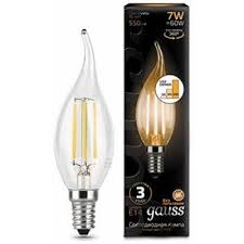 <b>104801107</b>-<b>S Лампа Gauss</b> LED Filament Candle tailed E14 7W ...