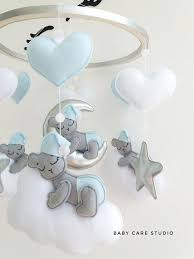 Baby mobile kit with sleeping <b>bears</b> on the clouds and the <b>moon</b> ...