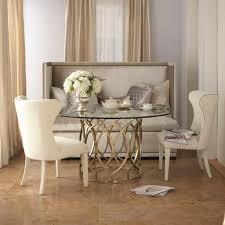 tufted dining bench with back glass countertop dining table with  white dining chairs and dining room bench with back