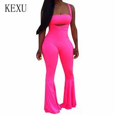 <b>KEXU</b> Sleeveless Spaghetti Strap Sexy Jumpsuits Deep V neck ...