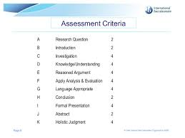Extended Essay Assessment Criteria International Baccalaureate Organization          Assessment   Millicent Rogers Museum