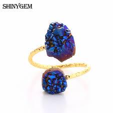 <b>ShinyGem</b> Irregular <b>Druzy</b> Opal Rings Vintage Gold Wire <b>Natural</b> ...
