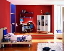bedroom design red contemporary wood: kids roomcontemporary boy bedroom design with red wall color and white shelves and laminated
