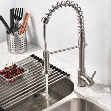 a pull spray kitchen quilmes brushed nickel kitchen sink faucet with pull down sprayer